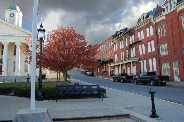 Streetscape of High Street as seen today of the Garman Opera House across the street from the Centre County Courthouse.