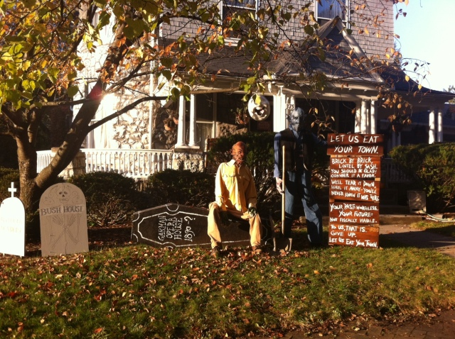 Photo of Patrick North's front yard with his Halloween Ode to the Garman Opera HouseGarman Opera House
