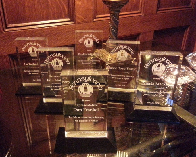 picture of the 6 Fearless Feminist Award trophies
