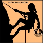 Ni-Ta-Nee NOW logo of a woman successfully scaling Nittany Mountain and working for equality