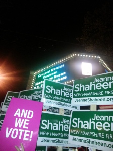 Picture of Shaheen and We Vote Signs
