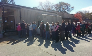picture of Shaheen Supporters outside IBEW Hall in Concord NH