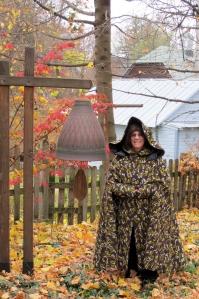 Picture of Joanne wearing her custom made Irish cloak