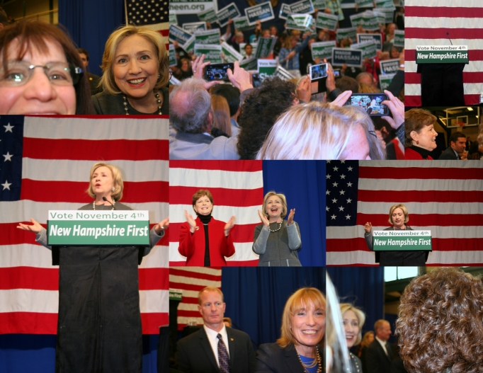 Collage of pictures taken during the Hassan/Shaheen/Clinton rally in Nashua, NH on Nov. 2, 2014