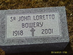 Picture of SR. John Loretto Bowery's headstone