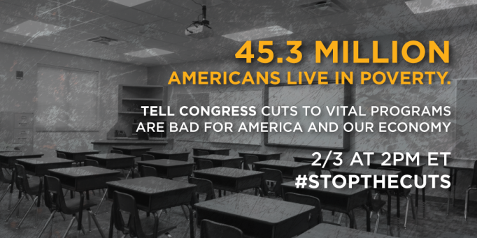 Meme stating that 45.3 Million Americans Live in Poverty #StopTheCuts