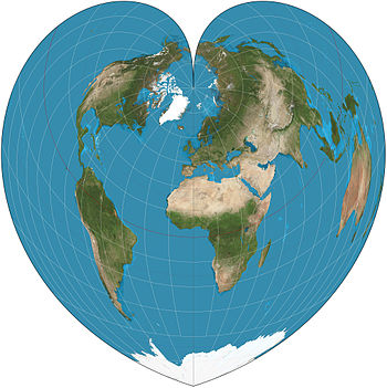 picture of the Earth shaped like a heart
