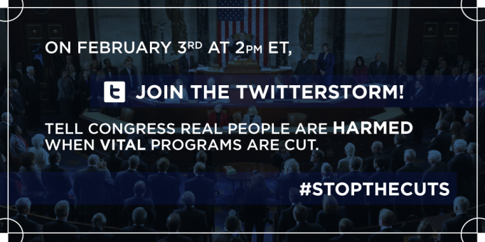 meme re Join the #StopTheCuts TwitterStorm on February 3, 2015.