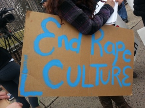 "Picture of a sign at the Window of Opportunity rally that says ""End Rape Culture."""