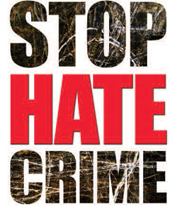 "picture of a sign that says ""Stop Hate Crime"""