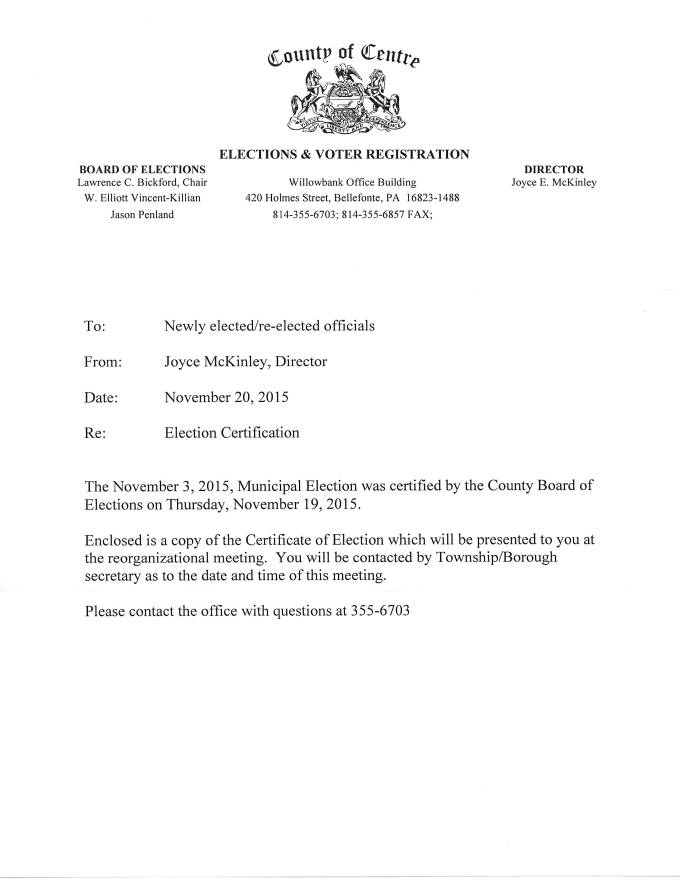 scan of the official Centre County Office of Elections certification letter