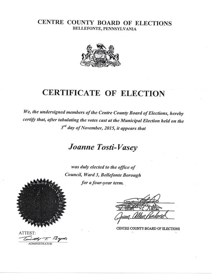 Copy of my 2015 Certificate of Election