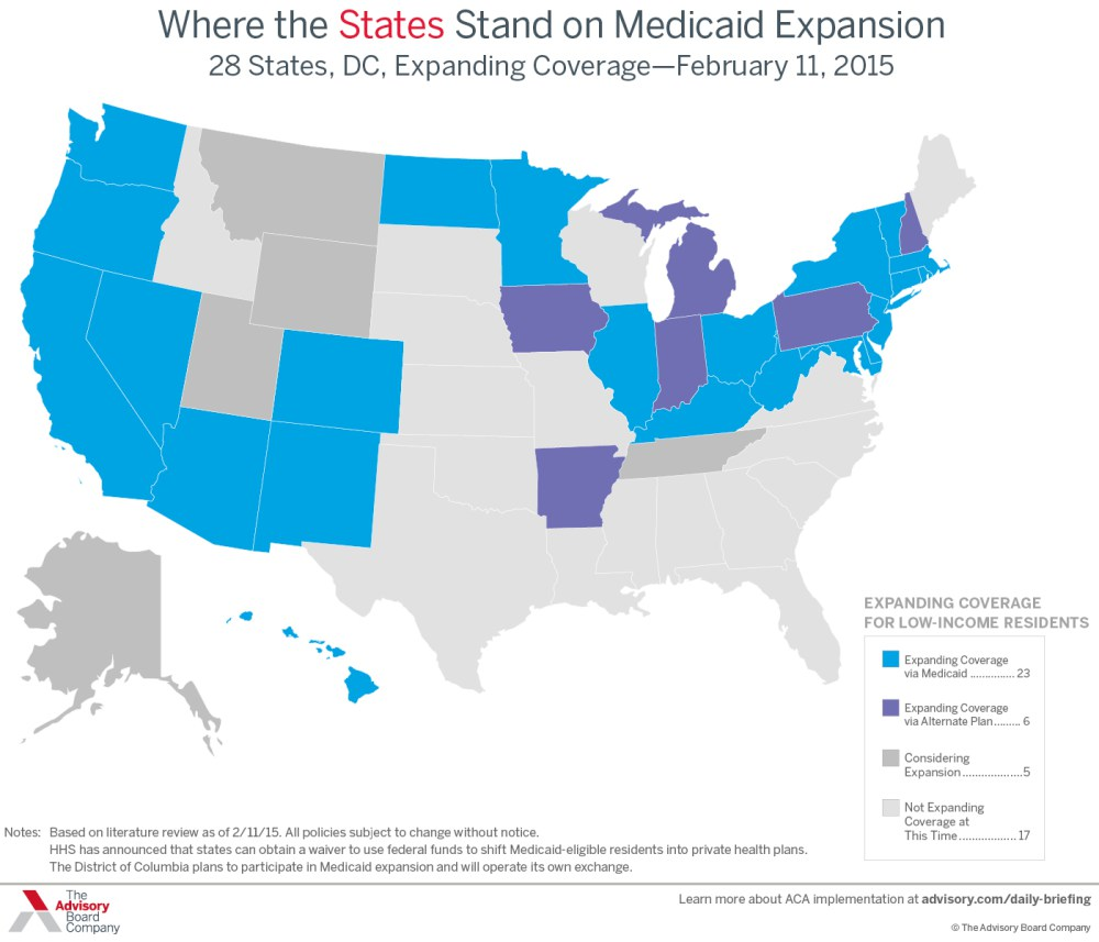 Map of where states stood on Medicaid Expansion as of Feb 5, 2015