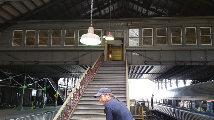 picture of staircase and the coach cars of my Amtrak train in Harrisburg, PA