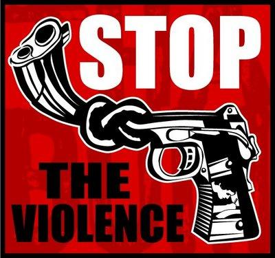 "Picture of a gun with a knotted barrel with the words ""Stop the Violence"" surrounding the gun."