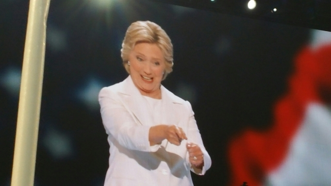 Picture of Hillary Clinton pointing at someone