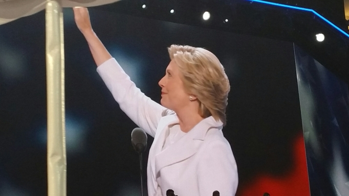 Picture of Hillary Clinton with her arm taised in victory