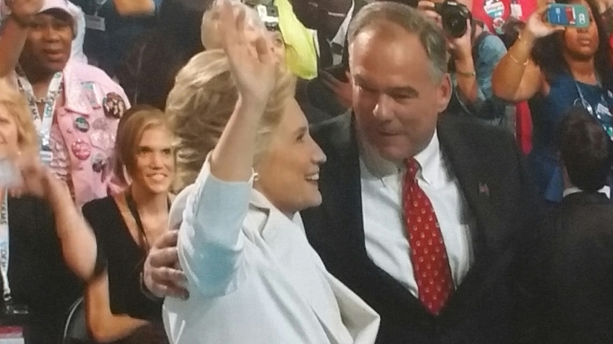 Picture of Hillary Clinton and Tim Kaine