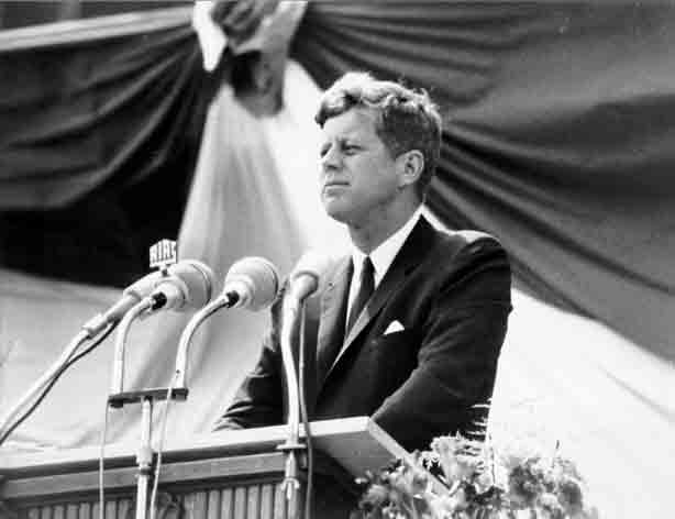 Picture of President John F. Kennedy making a speech that I found on Word Clip Art. Photographer unknown.