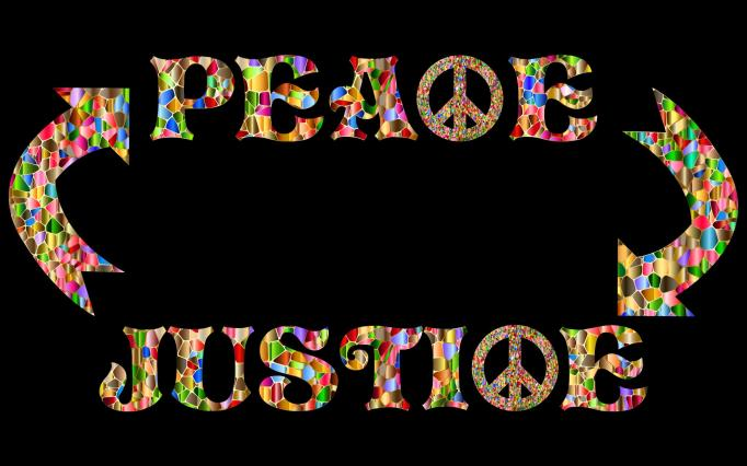 "picture of the words ""peace"" and ""justice"" with arrow pointing from one to the other in a circular manner."