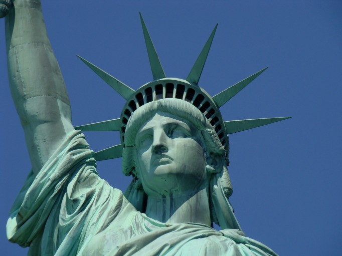 photograph of the face of the Statue of Liberty