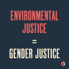 """the words """"Environmental Justice = Gender Justice"""" printed on a black background"""