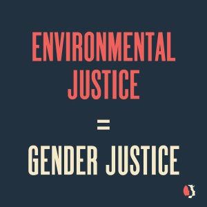 "the words ""Environmental Justice = Gender Justice"" printed on a black background"