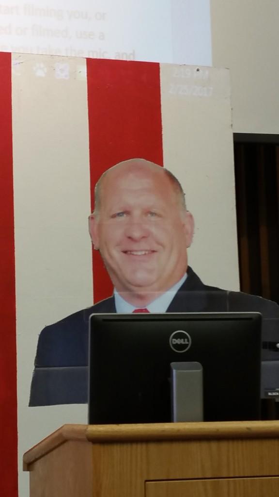 heal and shoulder ardboard cutout of Representative GT Thompson