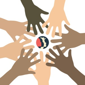 picture of multi-colored hand encircling women of all colors
