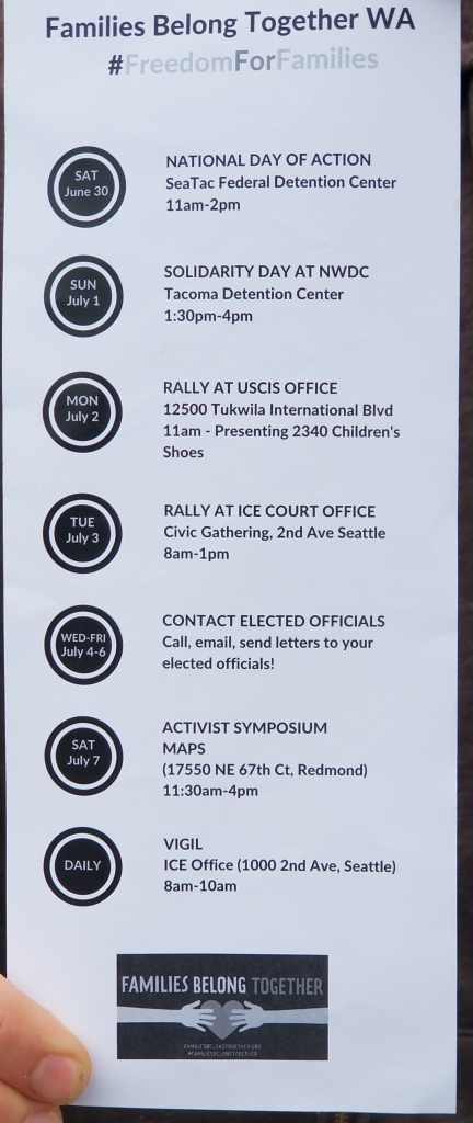 Families Belong Together Activities in Seattle on ending Zero Tolerance Policy