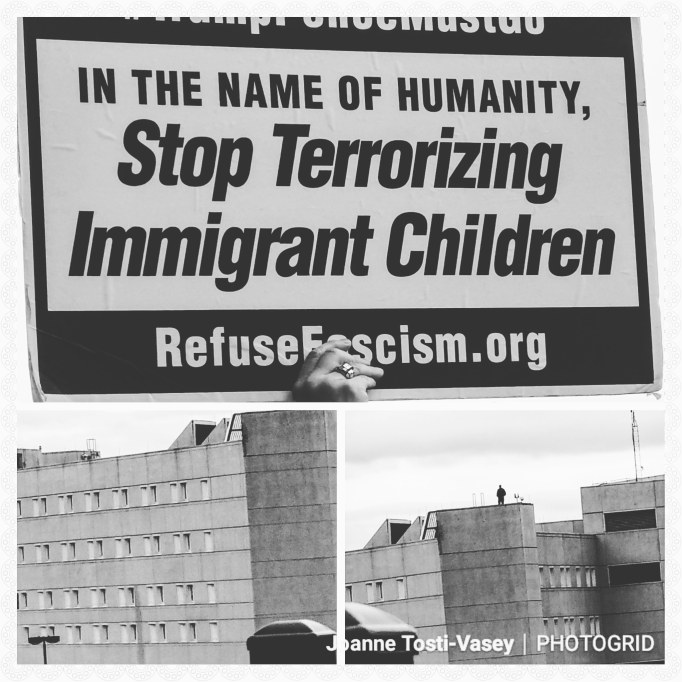 "Pictures of the Federal Detention Center at SeaTac with a sign saying, ""In the name of humanity, Stop Terrorizing Immigrant Children. RefuseFascism.org"""