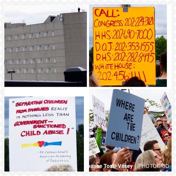 "Picture collage of the Federal Detention Center, a list of numbers to call Congress (202-224-3121), HHS (202-690-7000), DOJ (202-353-1555), DHS (202-282-8995), and the White House (202-456-1111), and two signs saying, ""Separating children from families really is nothing less than government-sanctioned child abuse!"" and ""Where are the children?"""